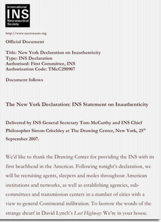 Click below to download the INS Declaration on Inauthenticity. Delivered at the Drawing Center New York September 25 2007 (unauthorized document below)  sc 1 st  Triple Canopy & The Matter of Past-Loving London - Triple Canopy