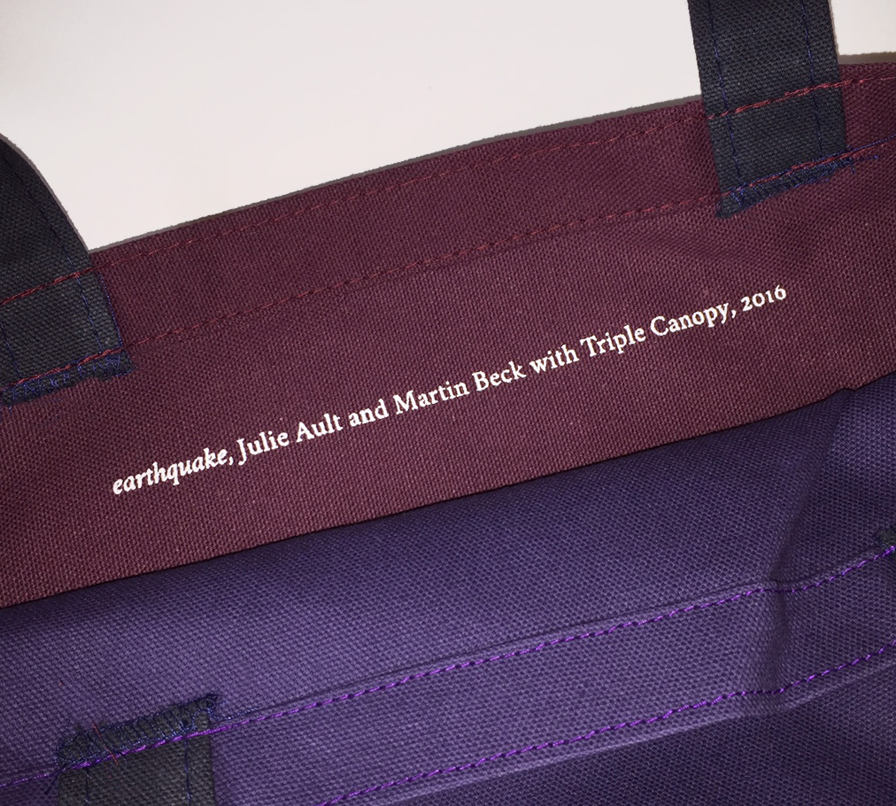 the tote was created on the occasion of triple canopys 2016 benefit which honored ault and comes in two color combinations blue purple and red orange