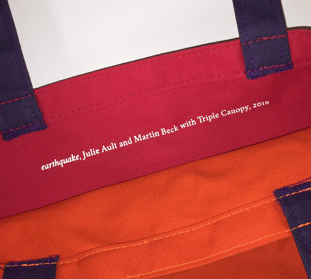 the tote was created on the occasion of triple canopys 2016 benefit which honored ault and comes in two color combinations red orange and blue purple - Orange Canopy 2016